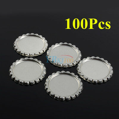 """100Pcs Flat 1"""" Silver Flattened Linerless Bottle Caps Crowns DIY Craft No Liners"""