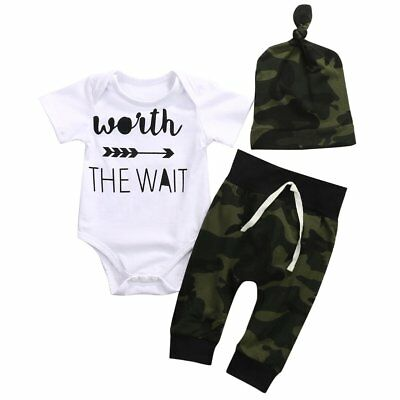 Newborn Baby Boys Short Sleeve Romper Pants Hat Outfits Clothes Set Size 000-2