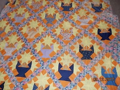 Bright Antique HAND STITCHED Quilt Top Orange with Flowers Beautiful!