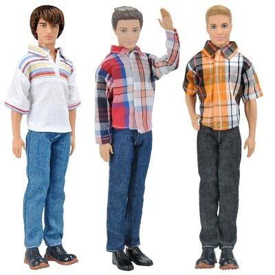 3Sets Dolls Clothes Casual Wear Jackets Shirt Pants Outfit for Boy Doll K