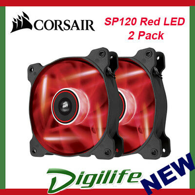 Corsair Air Series SP120 Red LED 120mm High Static Pressure Fan - Twin Pack