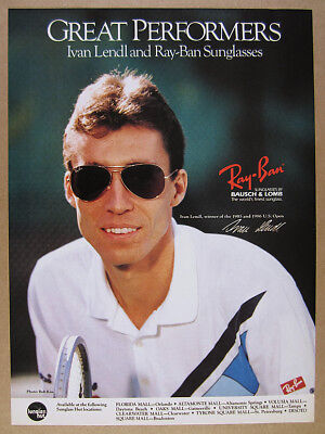 1987 Ivan Lendl photo Ray-Ban Sunglasses vintage print Ad