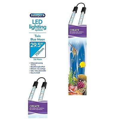 LED Twin System 2 x 36cm Blue Moon T8 T5 Florescent Lighting Aesthetic Interpet