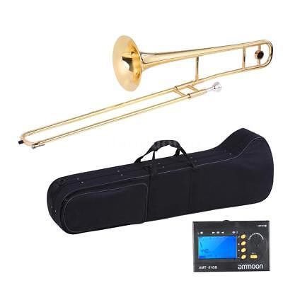 NEW Gold School Band Student Bb Trombone with Tuner Case Care Kit+Free Ship P1U0