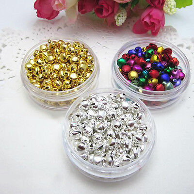 100 pcs Xmas Colorful Iron Beads Christmas Jingle Bells DIY Jewelry 8x6 mm Party