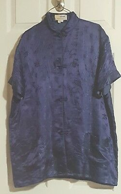 Esme XL (fits like M) 100% silk asian pant top 2 pc. sleepwear set
