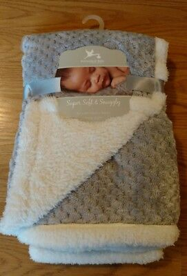 ADIRONDACK Baby Blanket Super Soft Snuggly Gray Silver Infant Lovey Boys Girls