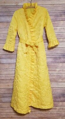 Vintage 50s 60s Quilted Belle Yellow Robe Ruffles Long Gown Pockets Bow Cosplay