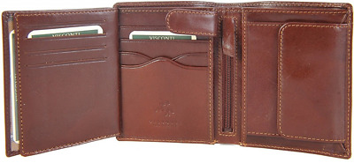 Luxury Brown Leather 8 Credit Card Slot Multi Function Wallet w/ Coin section