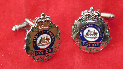 Cufflinks Australian Federal Police Enamel & Nickel Plated Badge 25Mm High