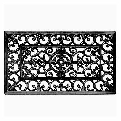Brooklyn Moulded Rubber Scroll Style Door Mat - Black - 45x75cm **FREE DELIVERY*