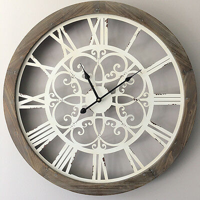 Large Wood Wall Clock with Metal Detail/60cm Rustic Farmhouse Industrial Coastal