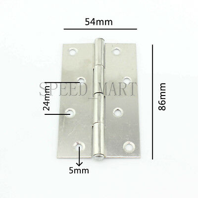 """86 x 54 x 0.8mm Gray Metal 4"""" Small Butt Hinge for Door Gate Cabinet"""