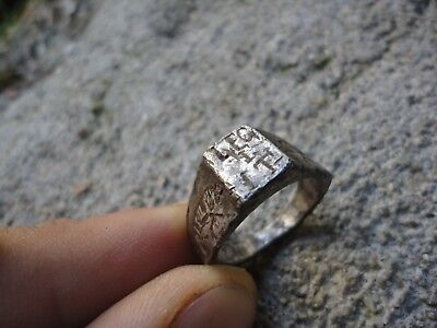 Ancient Roman Legionary Silver ring Legio I Italica founded by emperor Nero RARE
