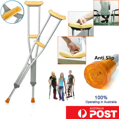 1 / 2 Pair Adjustable Height Underarm Crutches Adult Health Walking Aid Recovery