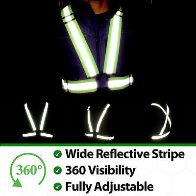 Glow  Night Running Green Safety Security High Visibility Reflective Vest Jacket