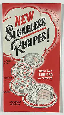 New Sugarless Recipes Vintage Rumford Chemical Works Recipe Brochure RI 1940s