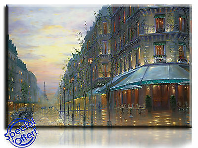 Large Wall Art Canvas Picture Print of Cafe de Paris Framed