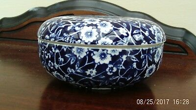 CALICO Burleigh Staffordshire England blue and white Lidded Dish Bowl  Mint