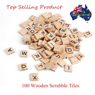 100/200 Wooden Alphabet For Scrabble Tiles Black Letters & Numbers For Crafts ZX