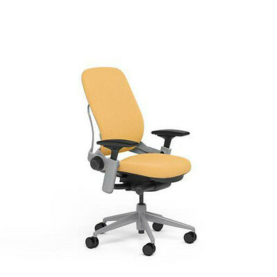 New Steelcase Leap PLUS Adjustable Chair V2 Buzz2 Sunrise Fabric 500lb Platinum