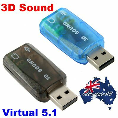 USB to 3D AUDIO SOUND CARD EXTERNAL ADAPTER VIRTUAL 5.1 CH MIC HEADPHONE AU