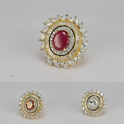 2 Tone Gold plated Indian fashion jewellery wedding adjustable finger  Ring New