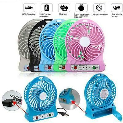Portable Rechargeable LED Fan air Cooler Mini Operated Desk USB Or AU
