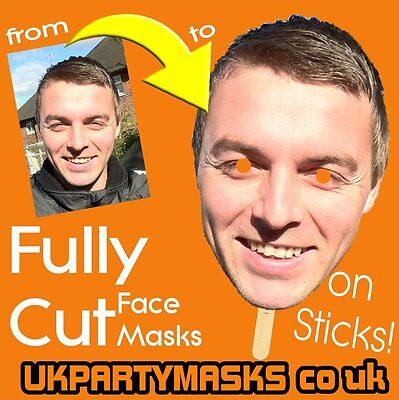 Fully Cut Photo Face Masks With Sticks Personalized Custom Made Stag Hen Wedding