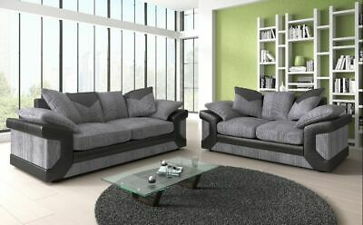 New Dino 3+2 Seater Or Corner Sofa Couch, Armchair, Fabric Black Grey Brown