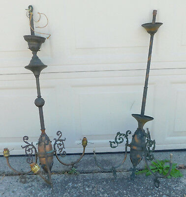 Pair 2 Antique Japanned Brass 3 arm Gas Lights Chandelier AS IS ORNATE French