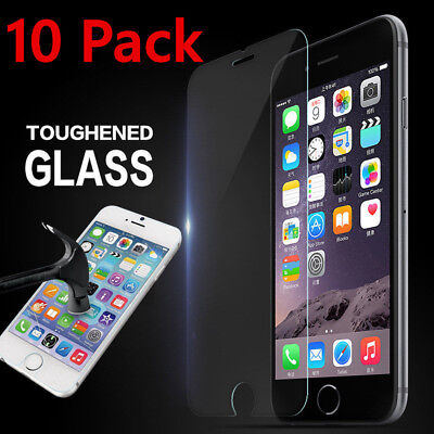 10 PACK Premium Screen Guard Protector Real Tempered Glass Film for iPhone Apple