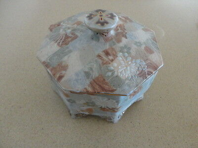 Vintage Chinese Octagonal, footed Porcelain Signed  Jewellery Box