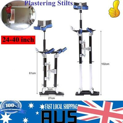 "24-40"" Plastering Stilts Adjustable Aluminum Drywall Tools For Painting Black"