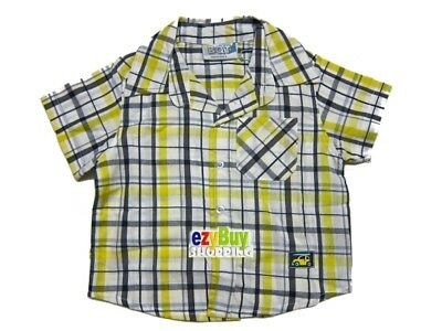 Yellow Check Checker Summer Short Cotton Boys Shirt 0
