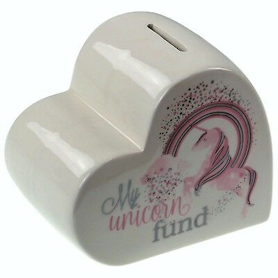 My Unicorn Fund White Ceramic Money Box Coin Cash Saving Heart Shaped Piggy Bank
