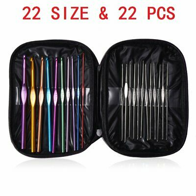 22 Size Multi Coloured Aluminium Crochet Hooks Yarn Knitting Needles Set 22 pcs