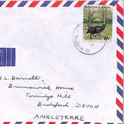 XX293 1970s BURUNDI Cover Commercial Airmail BIRDS