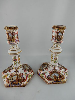 KPM Candles Chandelier 18.jhd. Couple with 12 kauffahrtei Miniature Painting