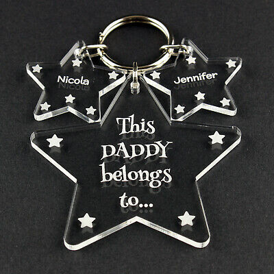 Personalised Daddy Grandad Birthday Fathers Day Christmas Keyring Gift Present