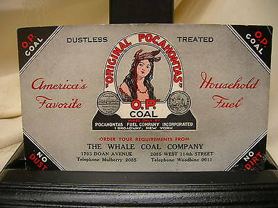 Vintage Ink Blotter Advertising Cleveland OH Pocahontas O. P.  The Whale Coal Co