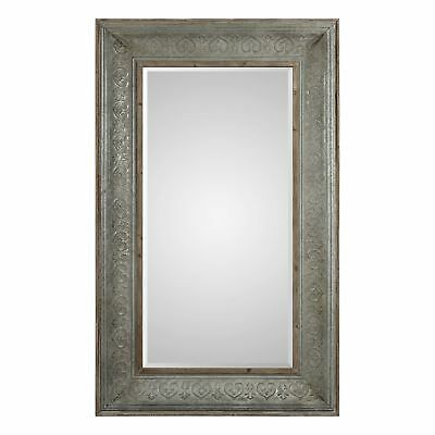"Embossed Metal Antique Gray Wall Mirror | 77"" Tall Full Length Floor Leaner"