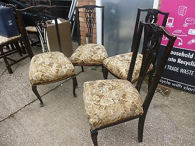 Set of 4 Vintage Chairs - Solid Mahogany Upholstered Seats