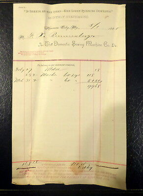 1885 Domestic Sewing Machine Monthly Statement