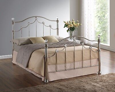 Campania Silver Chrome Effect Crystal Metal Bed Frame -4ft6 Double / 5ft Kingsze