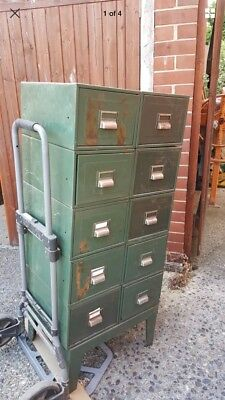 10 Green Industrial Vintage/Retro Metal 10 Filing Drawers/Cabinets/Units
