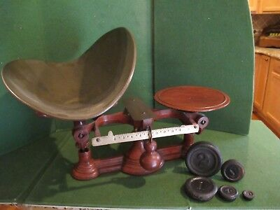 Vintage Redish metal Balance Scale With Weights And Tray ~really nice~