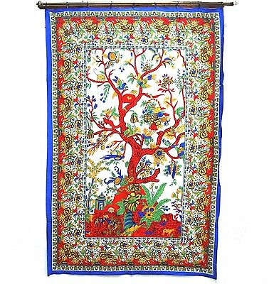 Large Tree of Life Tapestry Wall Hanging 86 by 54 Inches Blue Border Red Tree