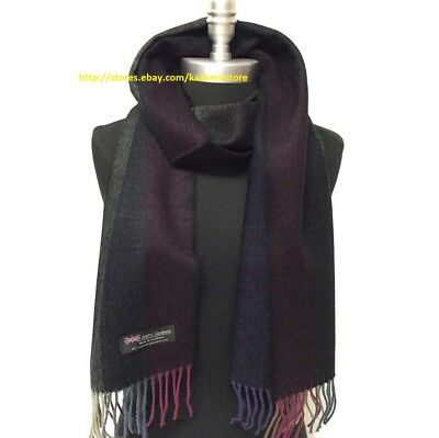 Men Winter 100% Cashmere Scarf Tweed Stripe Multi Color SCOTLAND Soft Wool Wrap