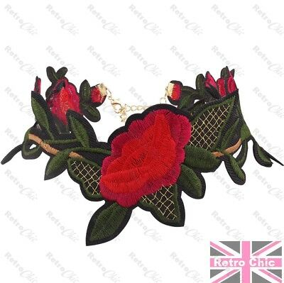 RETRO ROCKABILLY tattoo CHOKER red roses NECKLACE rose flower green/black/gold